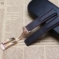 Correa de Fibra De carbono + cuero genuino cosido rojo oro rosa hebilla 20mm 22mm accesorios reloj de pulsera correa de reloj negro banda