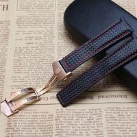 Carbon Fiber Watchband Genuine Leather Red Stitched Rosegold Buckle 20mm 22mm Black Watch Accessories Bracelet Watch
