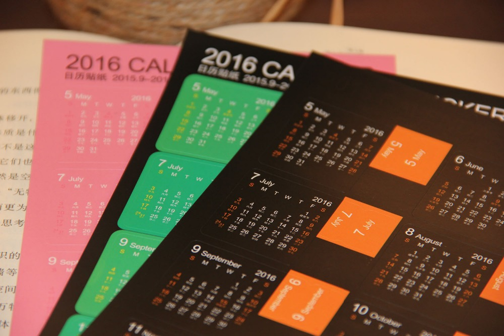 The 2016 annual calendar date stickers stickers index practical multifunctional pastes 2 into 4 color options
