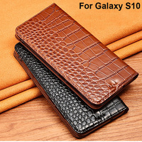Crocodile Genuine Leather Flip Wallet Phone Case For Samsung Galaxy S10 Magnetic Cover For Galaxy S10 S 10 Phone Case Coque