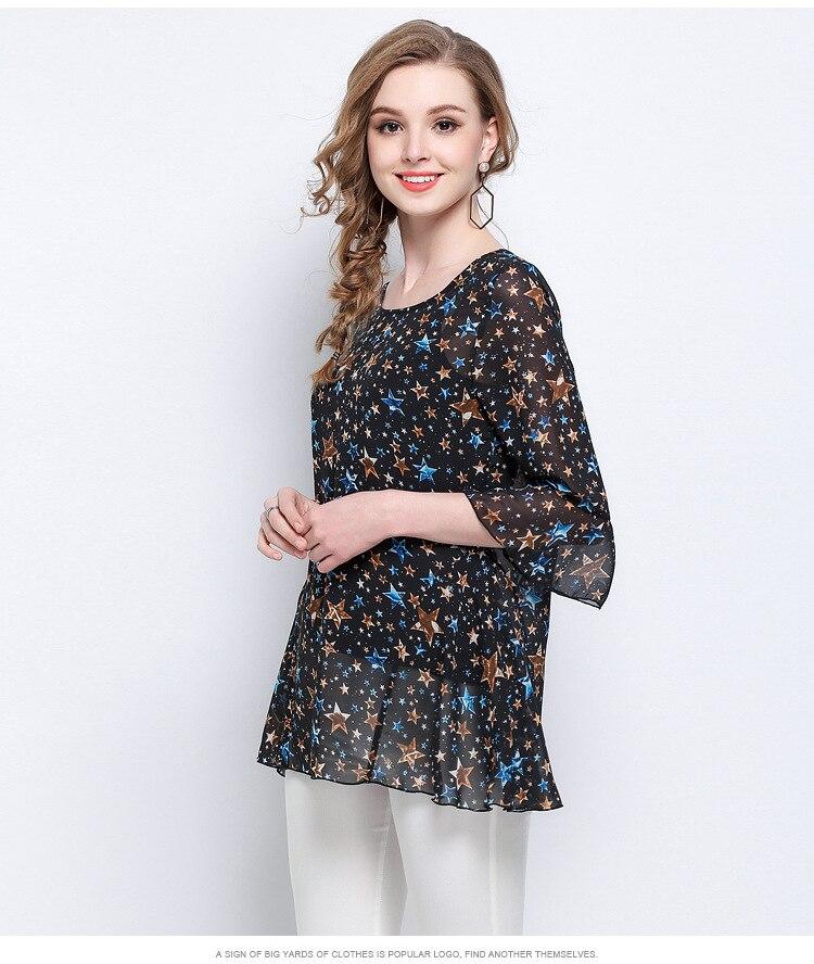Volants Mousseline Chemises En Chemise Vêtements 2018 Pour D'été Féminin Manches Fusée Élégant Vintage Tops À Les Femmes Étoiles Impression 1 De Soie eW29EIYbDH