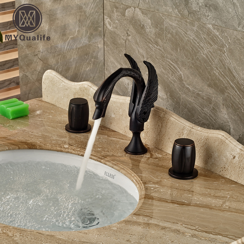 цена на Dual Handles Bathroom Swan Basin Sink Faucet Deck Mount Widespread Mixer Taps Oil Rubbed Bronze Finish