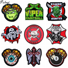 Pulaqi Diy Viper Badge Biker Patches Punk Skull  For Clothing Embroidery Sticker Stripes On Clothes Military Patch Wholesale H
