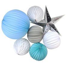 7pcs Party Decoration Set 19cm/32cm Pleated Paper Lanterns Honeycomb Balls  Star Wedding Birthday Hanging Daily Decor