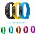 M2 deporte pulsera pulsera inteligente bluetooth monitor de ritmo cardíaco reloj de los hombres y de silicona impermeable smartband para xiaomi android ios
