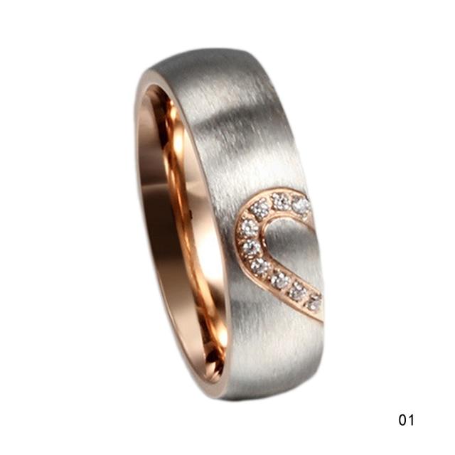 New Fashion Love Heart Couple Rings Wedding Engagement CZ Unique Fine Jewelry For Women Men