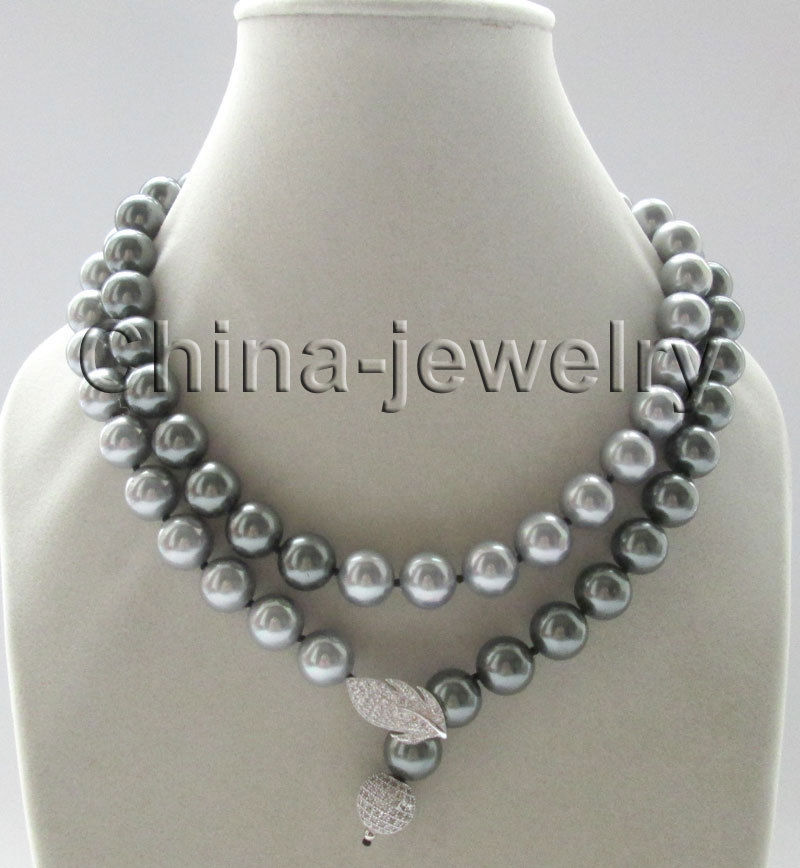 35 12mm peacock black + gray perfect round south sea shell pearl necklace GP