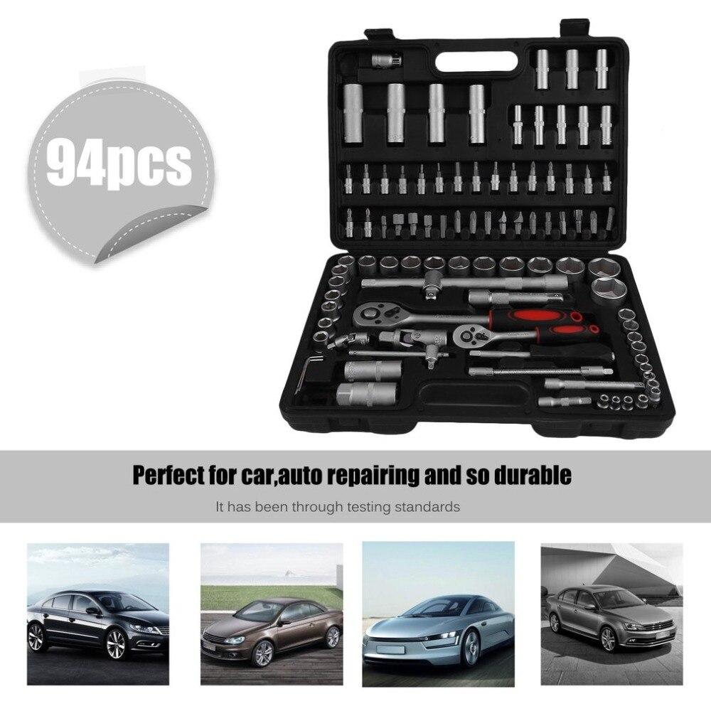 Hot 94Pcs/Set Socket Ratchet Wrench Screwdriver Bits Multi Hand Combo Tools Auto Vehicles Repair Repairing Tool Kit