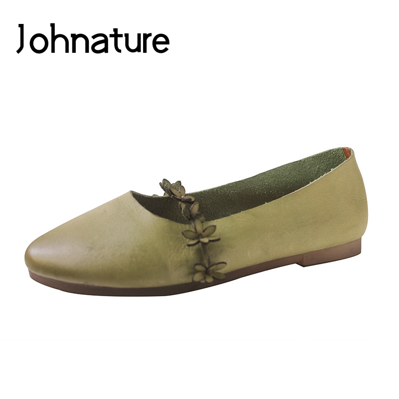Cuir Green on été Rond Femmes Noir Décontracté Chaussures Slip Rétro gris Johnature Peu Fleur Plat Véritable Printemps Bout Profonde Nouveau army Pour 2019 qBUxx5I8Zw