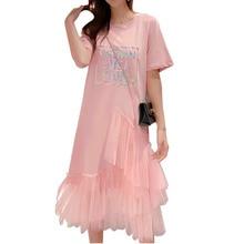 Женское длинное Сетчатое платье-рубашка, повседневное свободное асимметричное платье со светоотражающими буквами и оборками, модель 3XL на ...