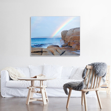 Laeacco Canvas Calligraphy Painting Seaside Rainbow  Poster and Print Wall Artwork Pictures Living Room Home Decoration
