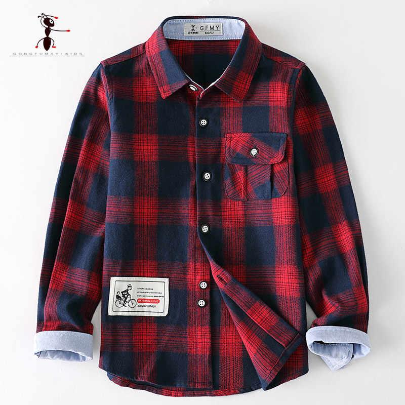Kungfu ant 2018 modis meninos camisas algodão manga cheia turn-down collar xadrez crianças camisas para 3-10 anos de idade camisas da escola 3096