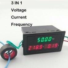 3IN1 LED display panel meter with Voltmeter ammeter voltage current frequency 80-300V 200-450V 100A