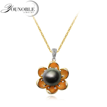 Real 925 Sterling Silver Black Pearl Pendant Women,Wedding Flower Natural Pearl Necklace Anniversary Birthday Gift недорого