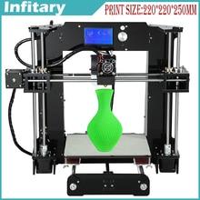 ¡ Nuevo! gran tamaño de impresión 220*220*250mm impresora 3D Prusa i3 impressora 3d DIY kit con 20 meterFilament 16 GB SD tarjeta de lector de Tarjetas LCD