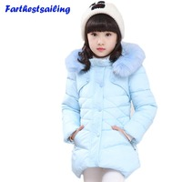 2017 Winter Children's Clothing Kids Down Cotton Outerwear Girls Wadded Jacket Child medium long Thickening Cotton padded Coat