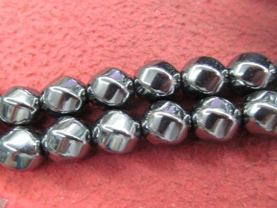 Hematite Jewelry Hematite Crystal Hematite Stone Round Heishi Cubic Twist Nuggets Gunmetal Jewelry Spacer Beads 8x12mm