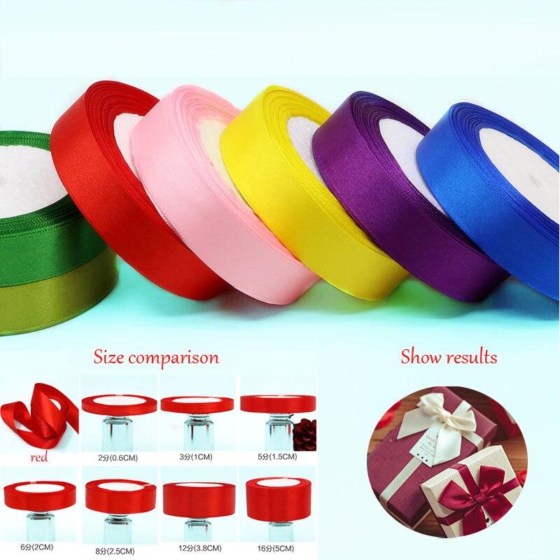 25 ярдов/25 мм шелковый атлас ленты ручной работы рождественские рулоны DIY Швейные ленты для свадьбы Упаковка для подарков Поставки