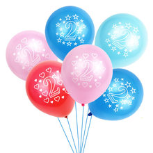 Blue Pink 2nd Birthday Balloon Boy Girl 2 Birthday Baloons Figure Latex 2 Year Old Kids Balloon Party Supplies YNS6(China)