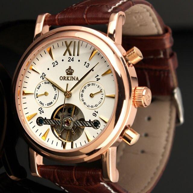 ORKINA Klassieke Dag Datum Kalender Automatische Tourbillon Bruin Lederen Band Analoge mannen Mechanische Horloge Rose Goud Montre Homme