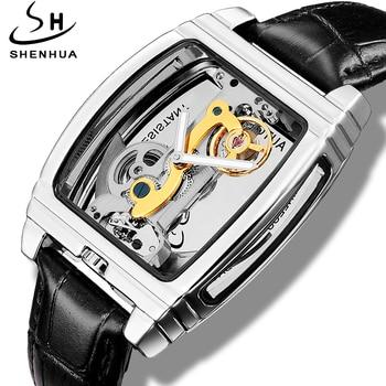 Shenhua 2019 Mens Fashion Transparent Watch Automatic Mechanical Watch Men Steampunk Leather Self Winding Watch montre homme