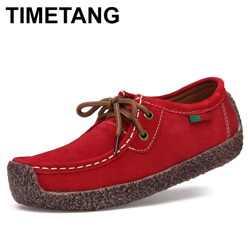 TIMETANG New Fashion Woman Casual leather Shoes Wild Lace-up Women Flats Warm Comfortable Concise Woman  Breathable Female c246 skullies beanies the new russian leather thick warm casual fashion female grass hat 93022
