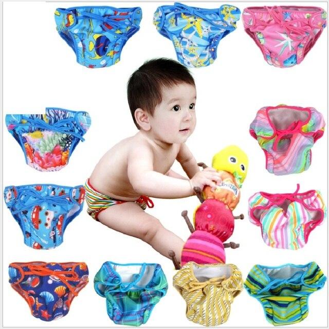 b93ac8eef2 Summer Baby Swimwear Diaper Newborn Reusable Nappies Waterproof Infant  diaper bag Bebe Girls Swim Trunks 2 layers Boys Swimsuit