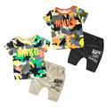 2016 Summer Male Kids Clothes Boys Short-Sleeve Child Trousers Twinset Baby Boy Camouflage Set