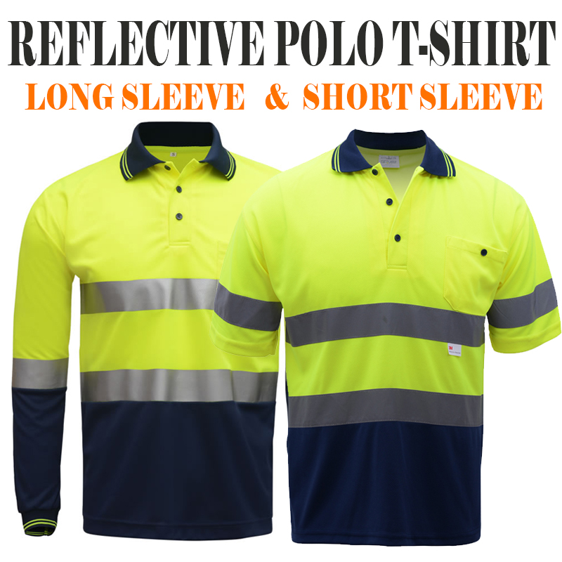 Safety reflective polo shirt yellow and navy two tone working t-shirt long sleeves short sleeves with reflective tapes grey crossed front design cut out long sleeves t shirt