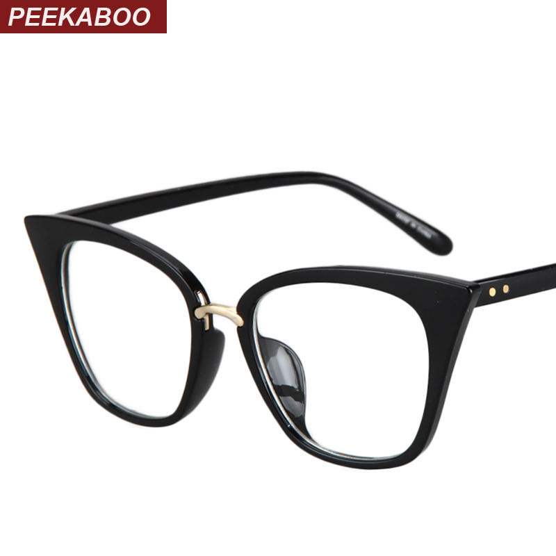 Peekaboo New 2018 قابهای عینک گربه ای مد قاب قاب های نوری طراحی نام تجاری گربه چشم عینک عینک قاب زن پلنگ سیاه روشن