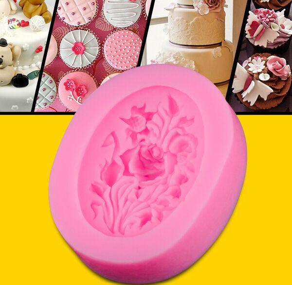 卸売/小売、送料無料、10ピースオーバル牡丹花形状ケーキ型シリコーン金型ポリマークレイ