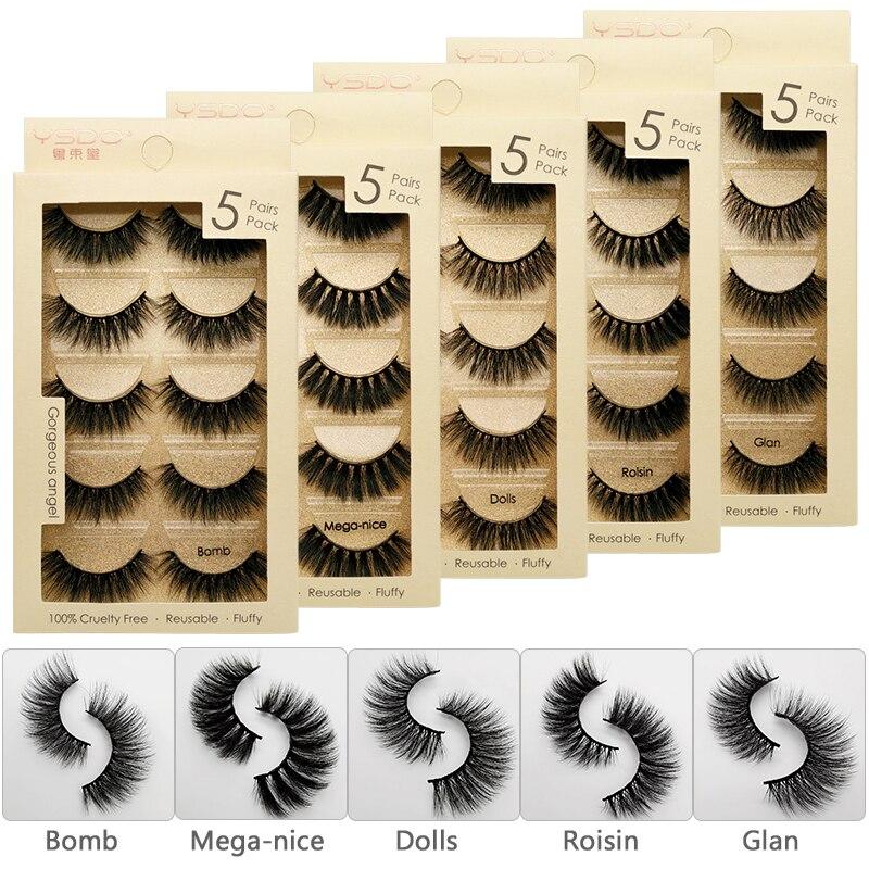 5pairs False Eyelashes Mink Eyelashes Natural Long Hand Made For Makeups Maquiagem Mink Cilios Faux Cils 1cm-1.5cm False Lashes