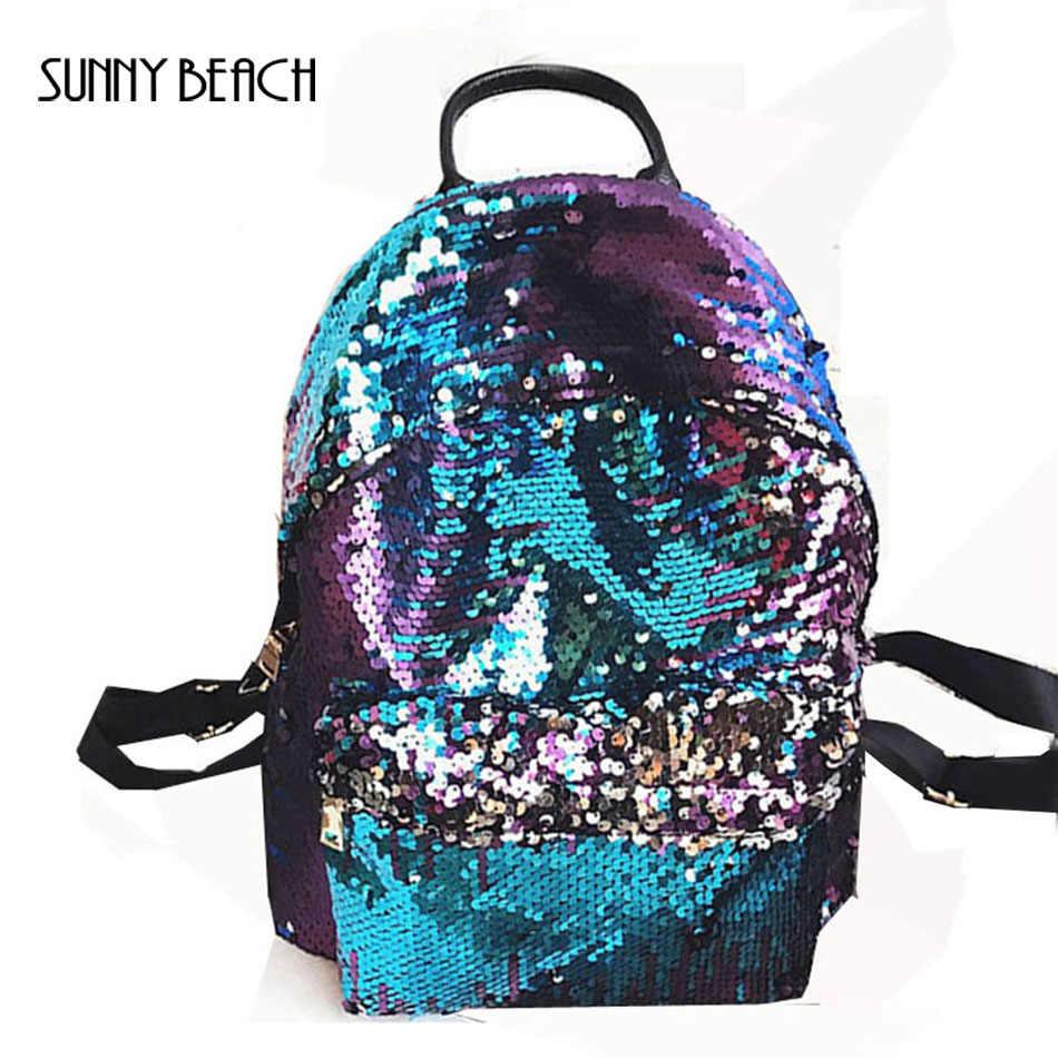 Солнечный пляж Блестящий рюкзак женский кожаный рюкзак женский Блестящий розовый черный школьный рюкзак для девочек