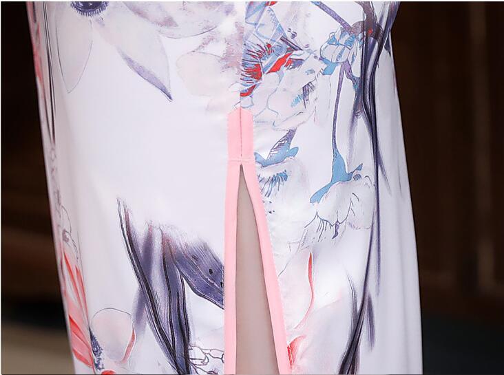 Chino tradicional cheongsam Satén de seda de señora vestido mujeres verano largo baile vestido - 4