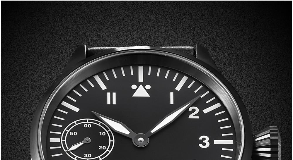 Corgeut 17 Jewels Mechanical Hand Winding Watch Seagull 3600 Movement 6497 Fashion Leather Sport Luminous Man Luxury Brand Watch