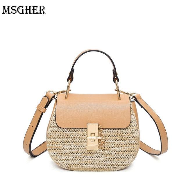 M.S Knitting Leather Patchwork Ladiess Handbags Circular Fashion Classic Shoulder Bags Elegant Round Totes Women Handbag SW060