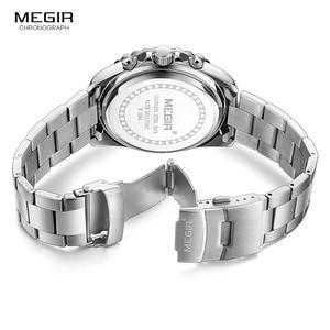 Image 5 - Megir erkek analog kronometreli kuvars saat paslanmaz çelik bilezik aydınlık saatler erkekler için takvimi 24 saat 2064G