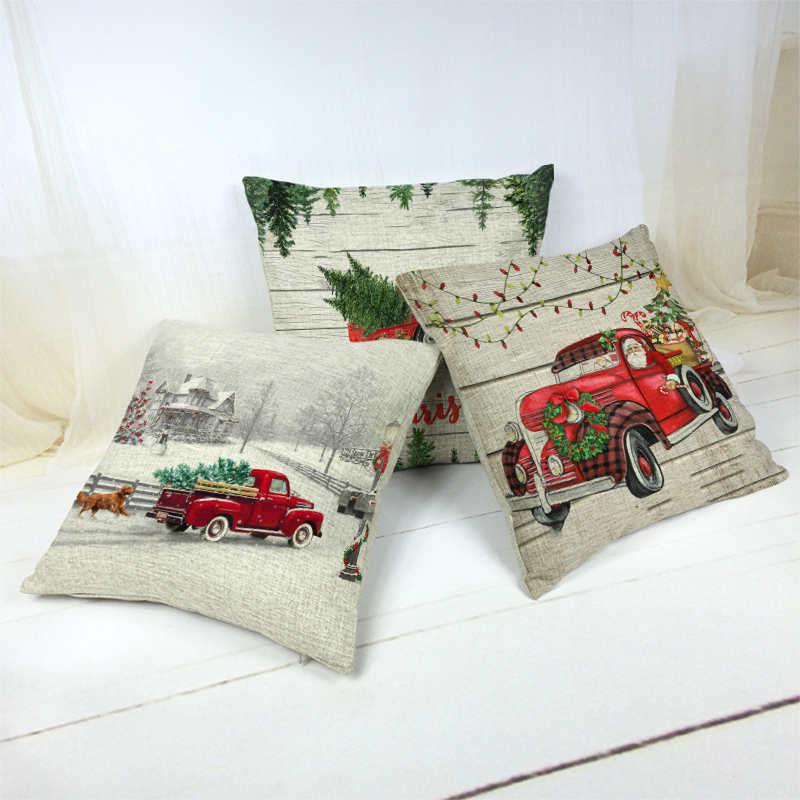 Christmas Holiday Family Sofa Decoration Pillowcase Christmas Tree Red Car Pattern Cushion Cover