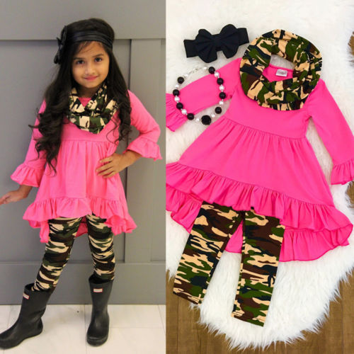 c86682ab9848e Aliexpress.com : Buy Baby Girls Camouflage Outfits Clothes Rose Red ...