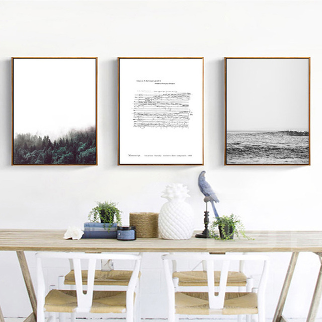 Nordic Landscape Canvas Painting Chopin Writing Seaside Fores Poster Print Wall Art Pictures For Living Room