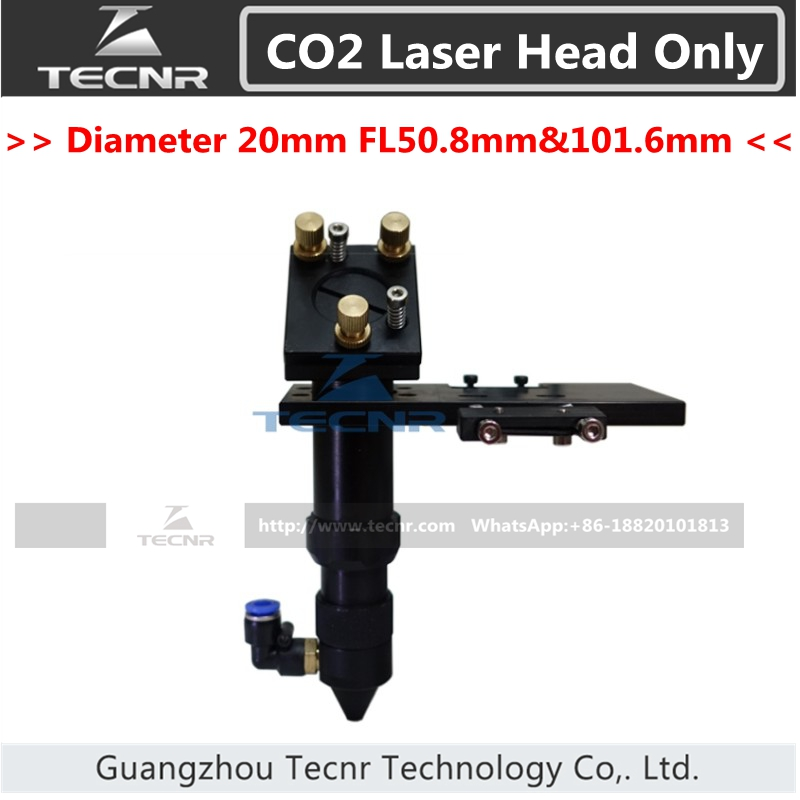 CO2 laser head set integrative focus lens and 25MM Dia laser mirror mount 50.8MM FL aluminum co2 laser head set dia 20mm znse focal focus lens fl 50 8mm integrative mount dia 20mm si reflective mirror