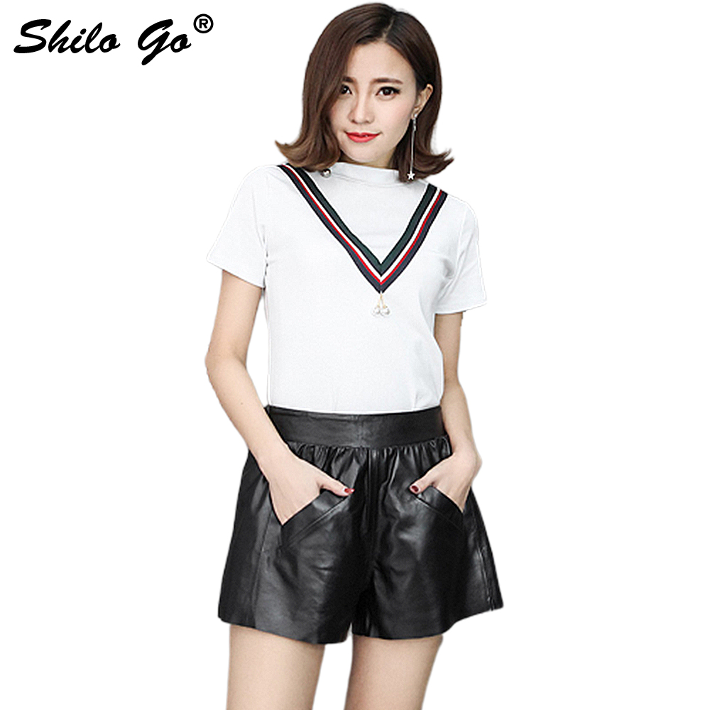 Leather Shorts Womens Autumn Fashion Sheepskin Genuine Leather Shorts Stretch High Waist Black Concise Wide Leg Shorts