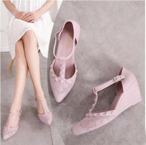 57ac05c7294a 2019 summer new wedge sandals thick bottom jelly shoes pointed rain shoes  Roman beach shoes breathable