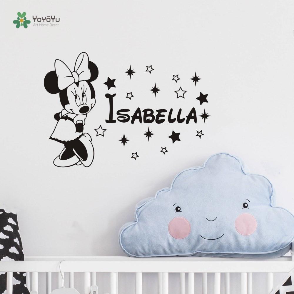 Personalised Minnie Mouse Nursery Wall Vinyl Sticker Bedroom Kids Childrens Home