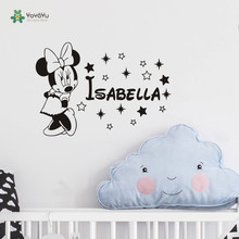 Cute Children Room Deco Sticker Minnie Mouse Nursery Name Custom Made Wall decal DIY Interior Decoration Bedroom adesivo NY-233