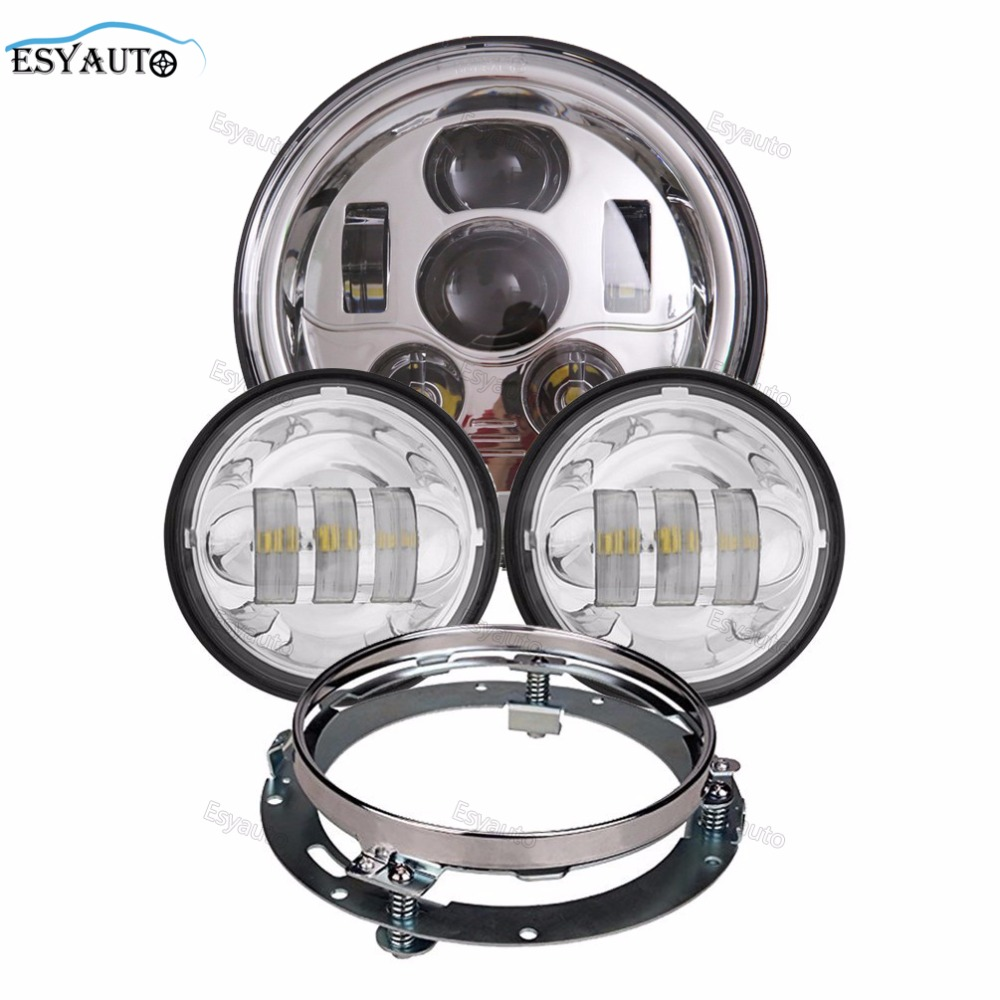 1 Set 7 Inch LED Headlight 45W Daymaker with Bracket Ring + 4.5 LED Auxiliary Fog Lights for Harley Davidson Moto Parts