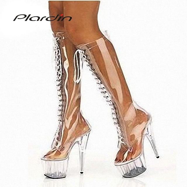 Plardin Plus Size 35-46 Sexy Transparent 15CM High Heels 5CM Platform Peep Toe Cross-tied Mid-Calf Nightclub Dance Party Boots