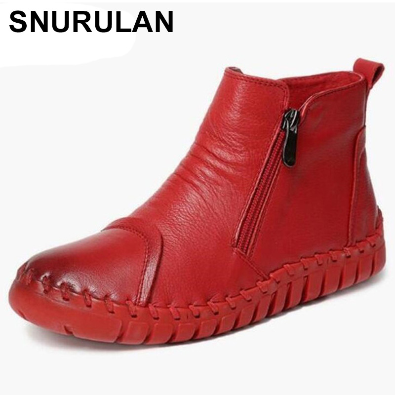 SNURULAN Elegant and comfortable women boots fashion shoes new hand stitched first layer of leather shoes flat boots women s