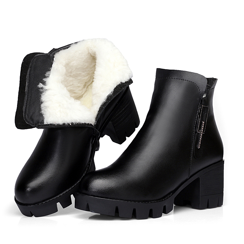 GKTINOO Genuine Leather Comfortable Women Ankle Boots Winter Warm Wool Snow Boots Thick Heel Platform Shoes Woman Fashion Boots m general women leather winter boots woman snow boot female comfortable ankle shoes breathable platform warm shoe mj 0133