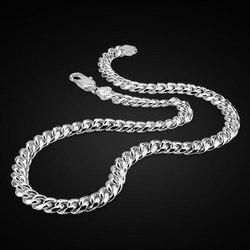 Настоящее 100% Стерлинговое Серебро, мужское ожерелье в стиле хип-хоп, панк, 10 мм, 26 дюймов, цепочка, модное мужское/Мужское серебро 925 пробы, юв...
